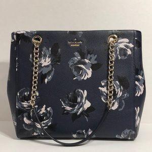 Kate Spade large navy floral pattern shoulder bag